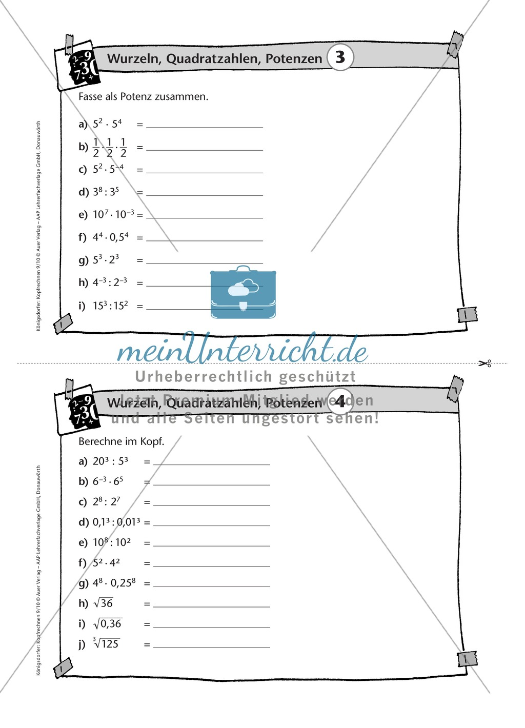 Karteikarten mit Aufgaben aus dem Themenfeld Wurzeln, Quadratzahlen und Potenzen Preview 3