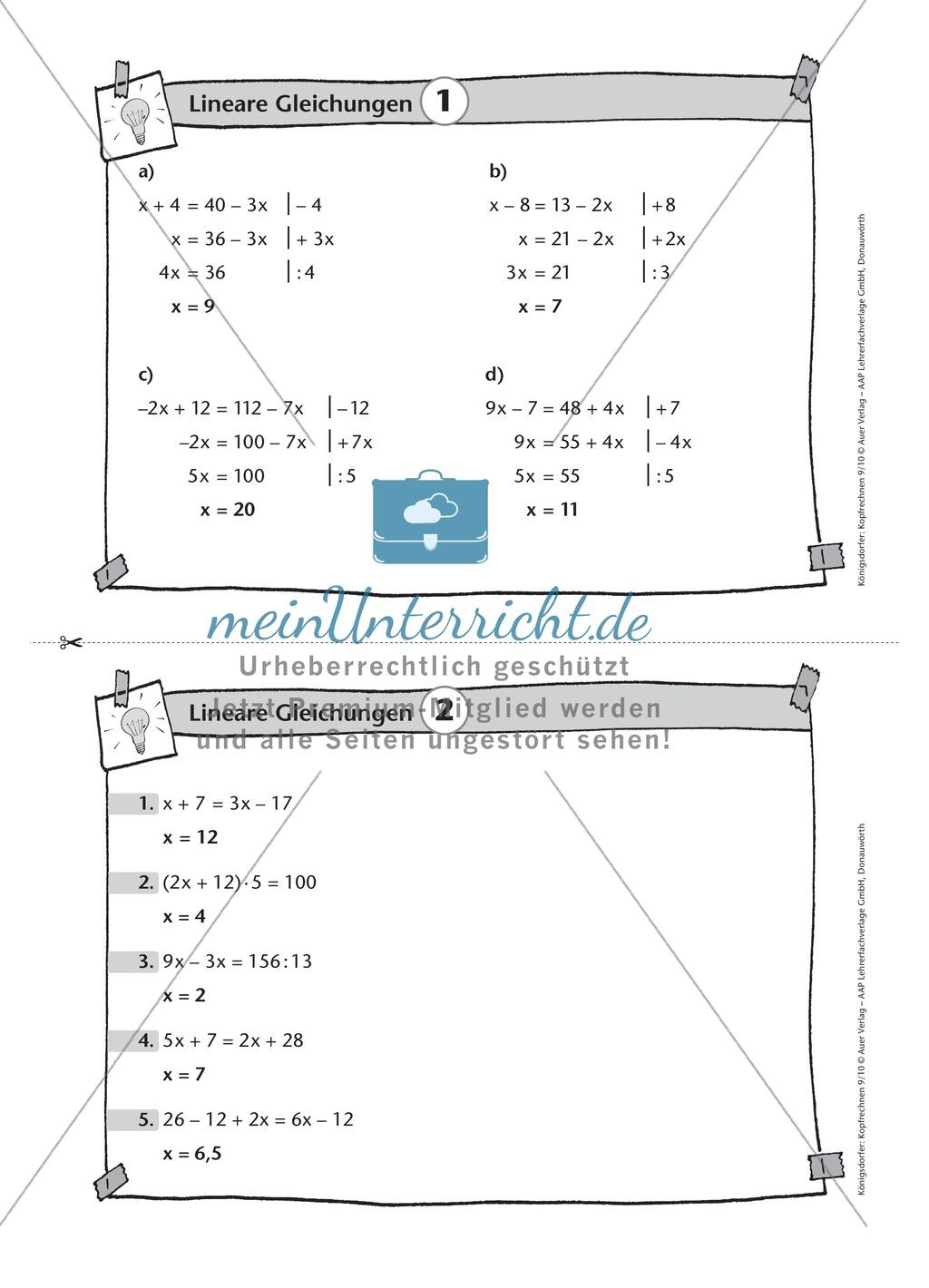 Karteikarten mit Aufgaben aus dem Themenfeld lineare Gleichungen ...