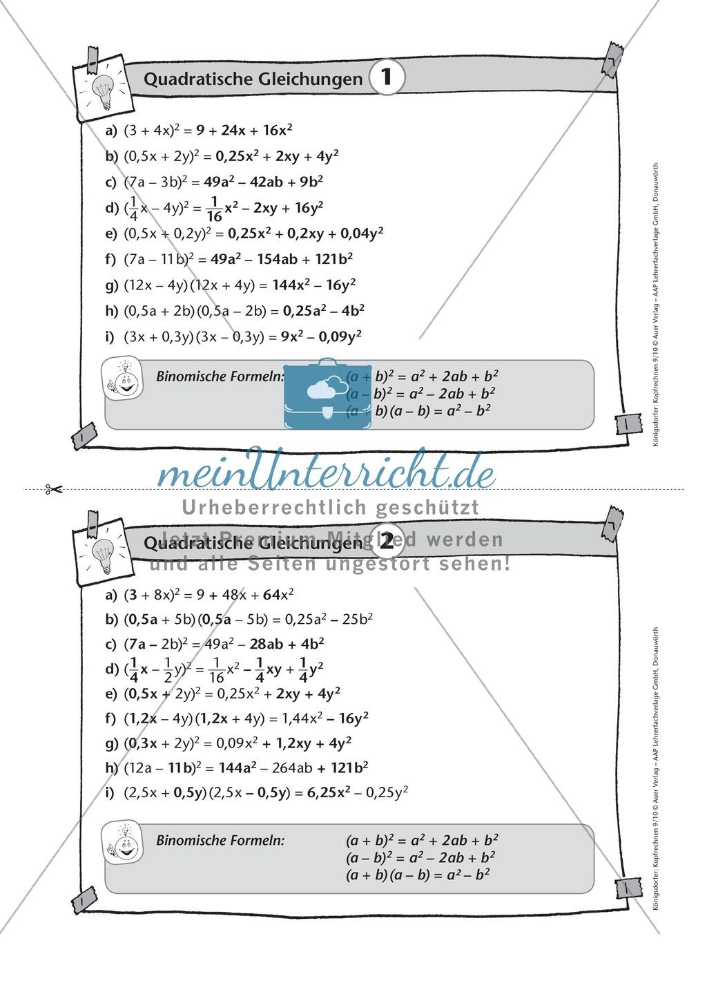 Karteikarten mit Aufgaben aus dem Themenbereich quadratische ...