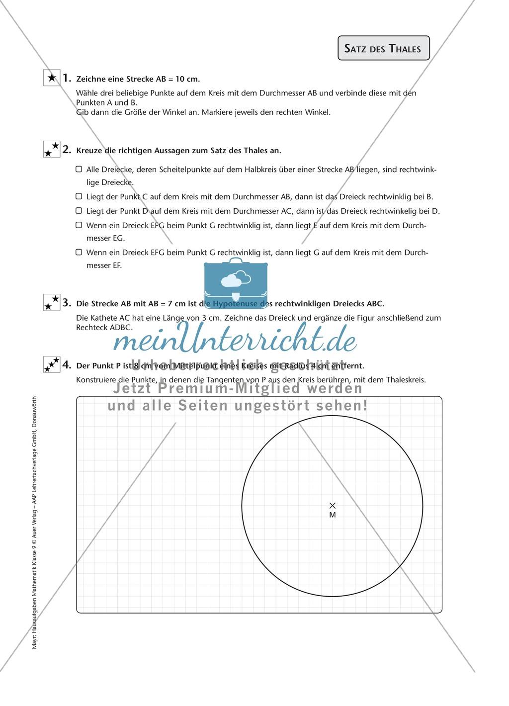 Aufgaben zur Entwicklung des Satz des Thales - meinUnterricht