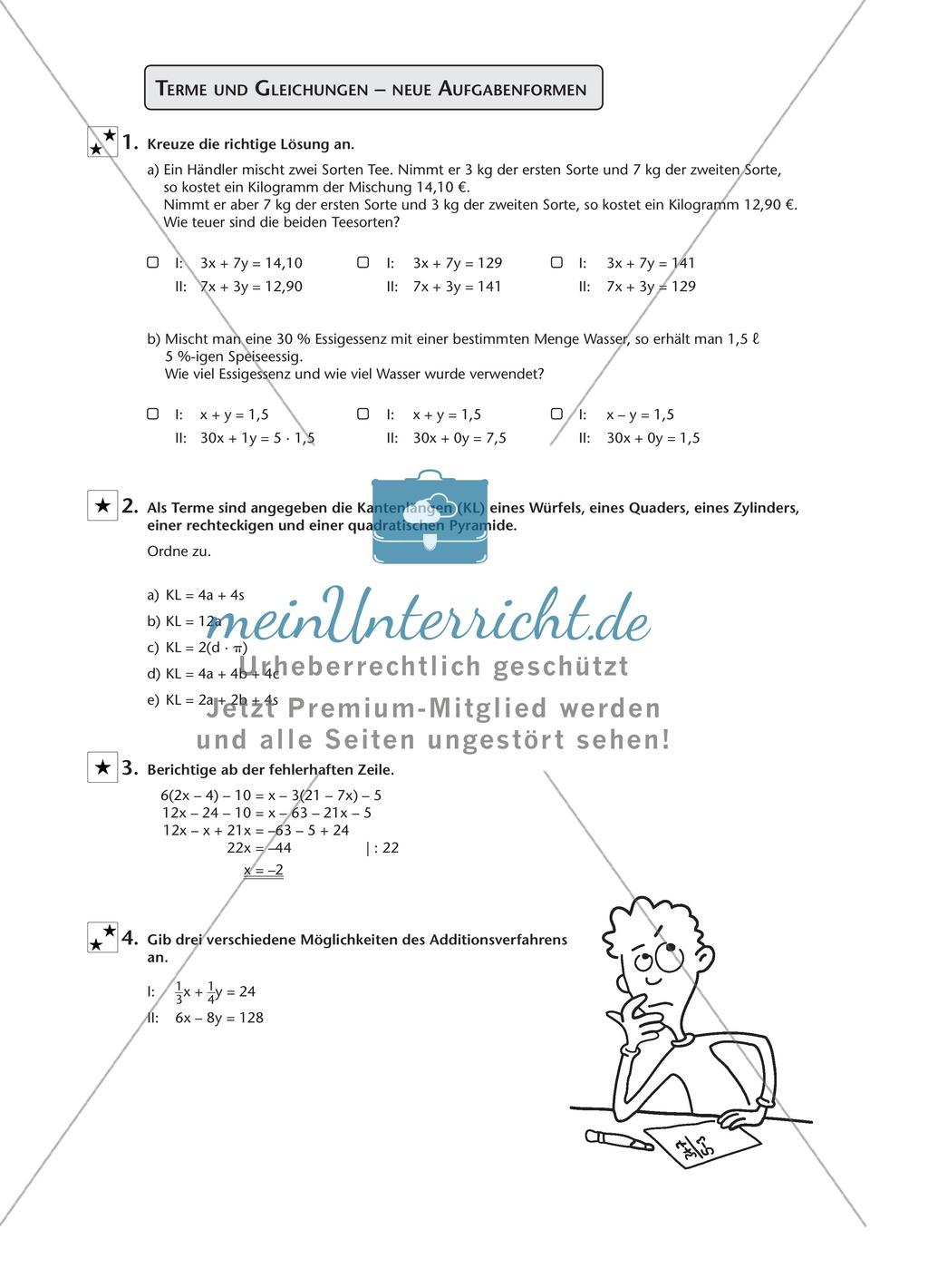 Vermischte Aufgaben mit Termen und Gleichungen - meinUnterricht