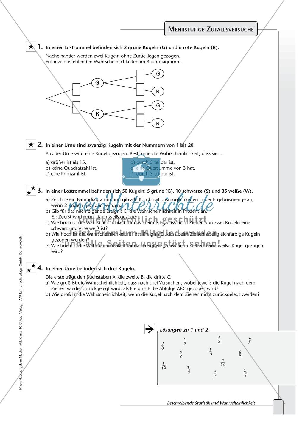 Vermischte Aufgaben zur Wahrscheinlichkeit und Statistik Preview 3