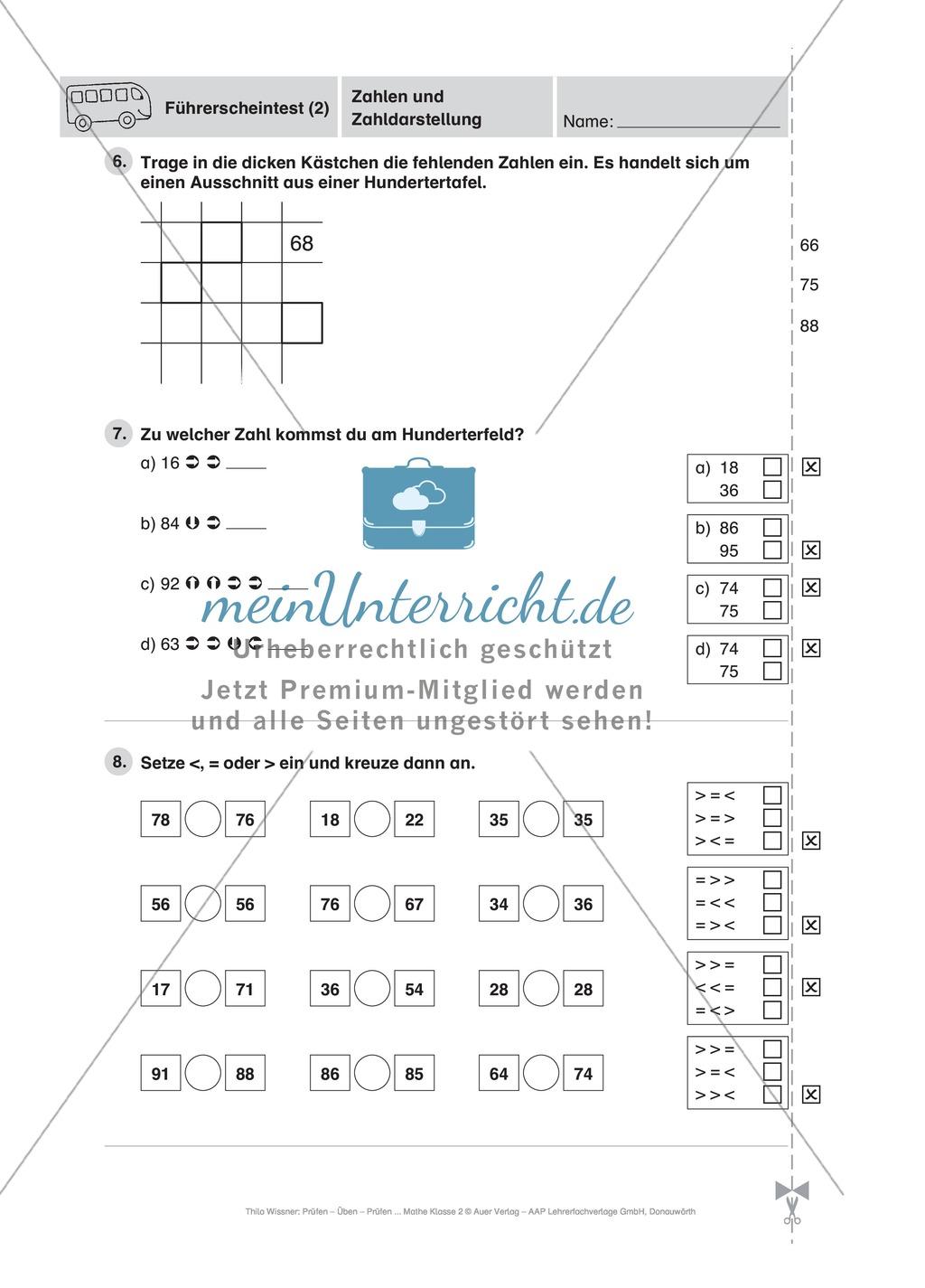 Mathe-Führerschein zur Zahlendarstellung im Hunderterraum ...
