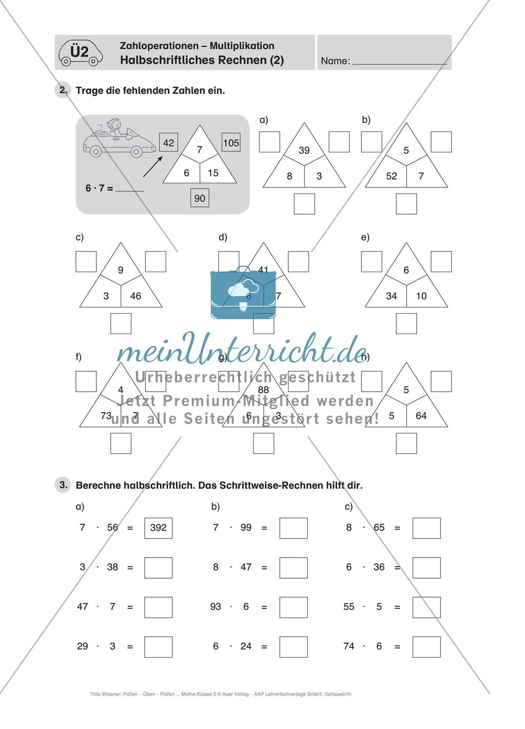 Mathefahrschule: Zahlenoperationen bis 1000 - Multiplikation ...