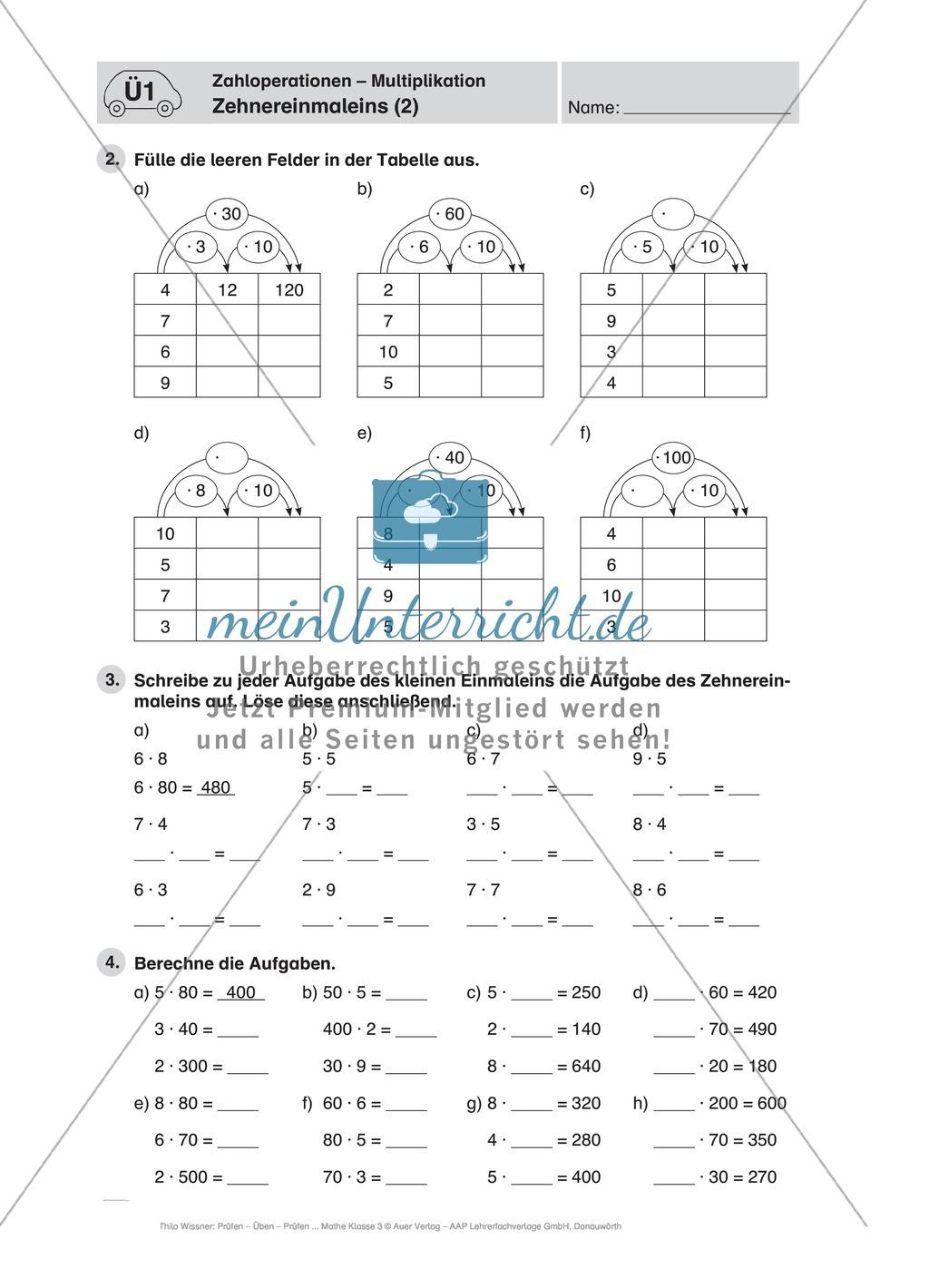 Zahlen bis 1000: Einführung ins Zehnereinmaleins durch schrittweises ...