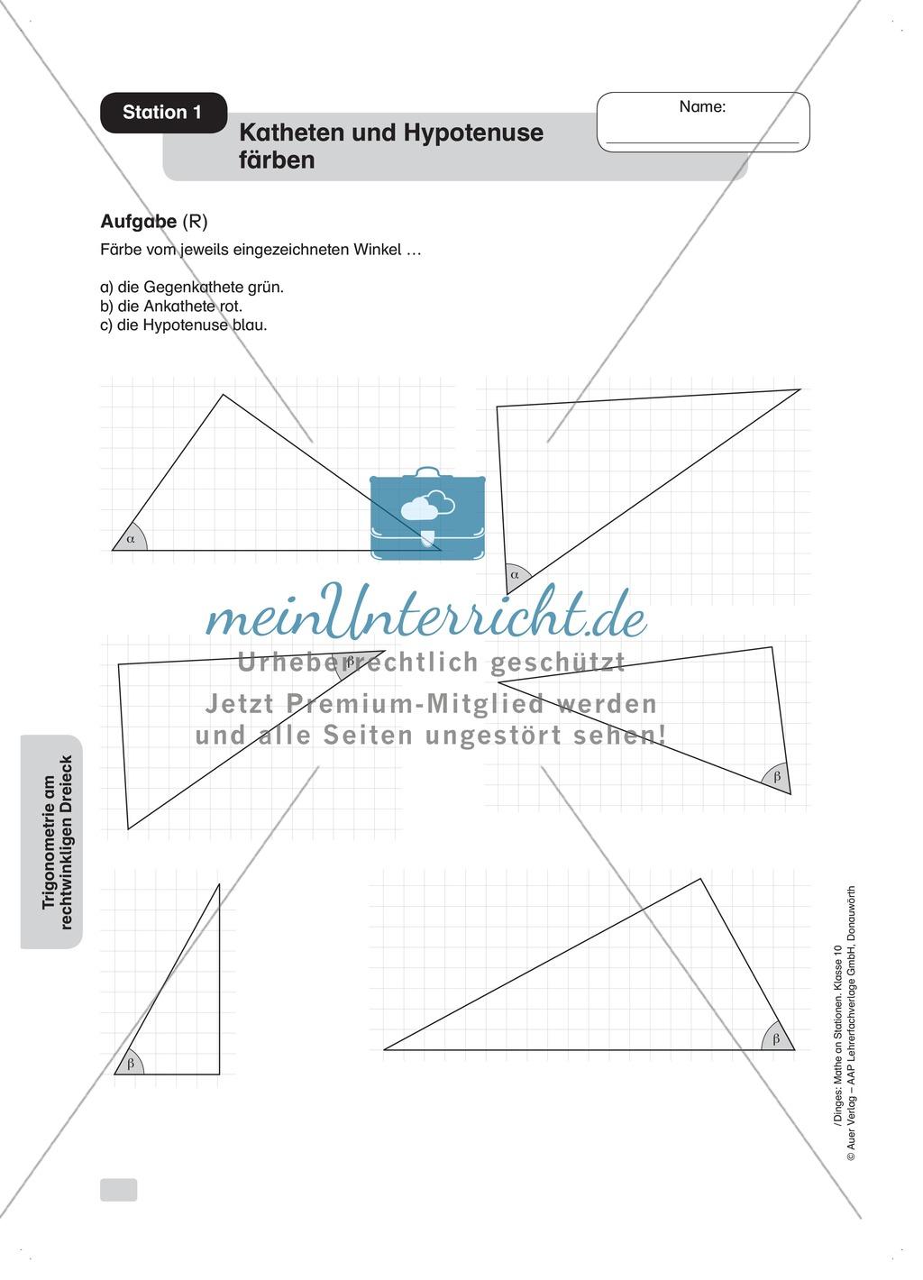 Aufgaben zur Trigonometrie: Verhältnisse im rechtwinkligen Dreieck ...