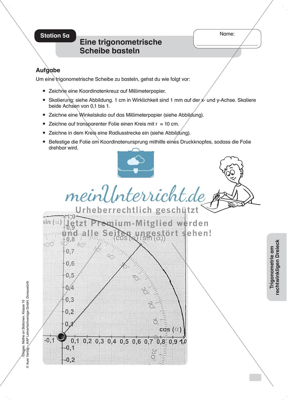 Eine trigonometrische Scheibe basteln und benutzen - meinUnterricht