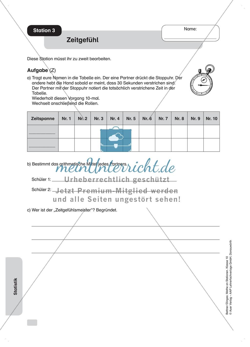 Statistik: Übungen zum arithmetischen Mittel - meinUnterricht