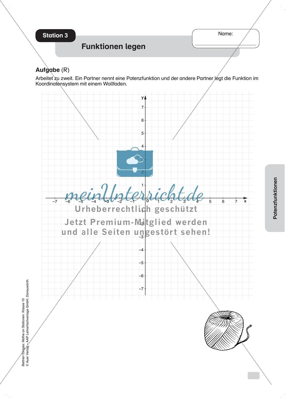 Verläufe von Potenzfunktionen darstellen (praktische Aufgaben) Preview 0