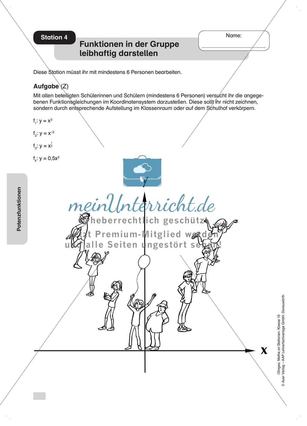Verläufe von Potenzfunktionen darstellen (praktische Aufgaben) Preview 1