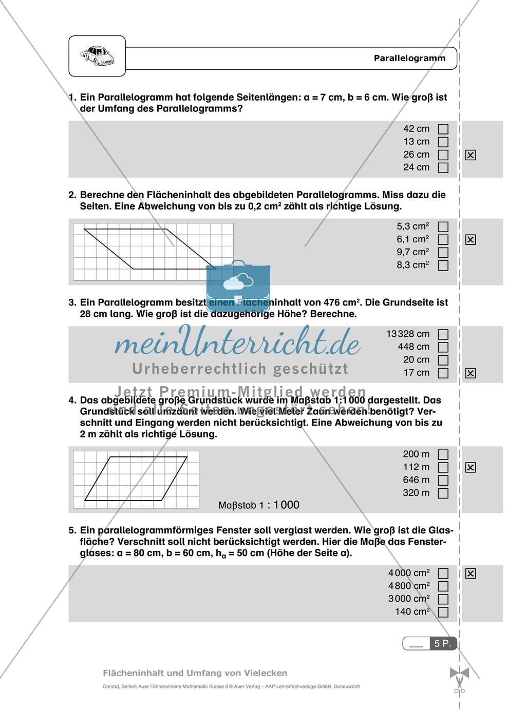 Flächeninhalt und Umfang von Parallelogrammen, Rauten: Schnelltest + ...
