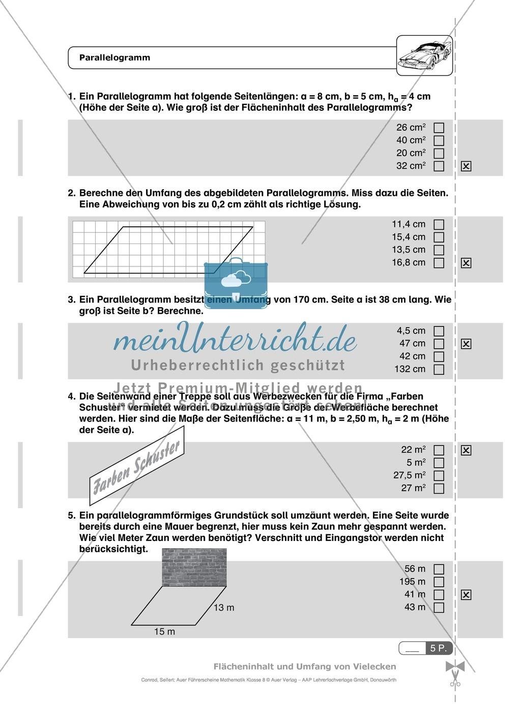 Flächeninhalt und Umfang von Parallelogrammen, Rauten: Schnelltest + Lösungen Preview 2