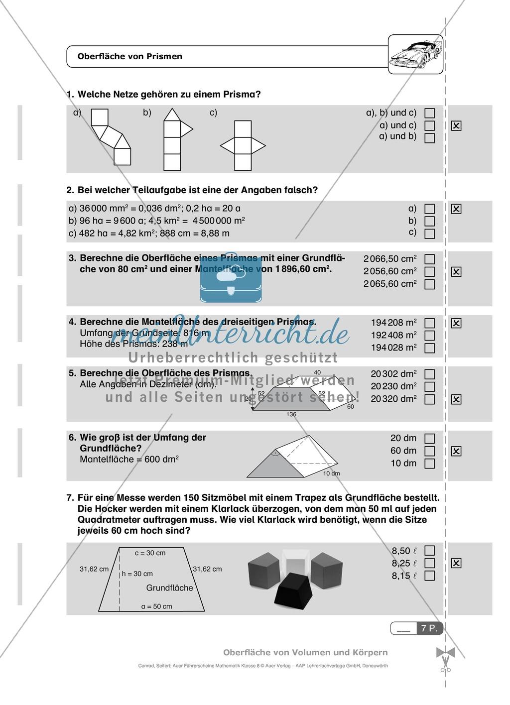 Die Oberfläche und das Volumen von Prismen - Aufgaben mit ...