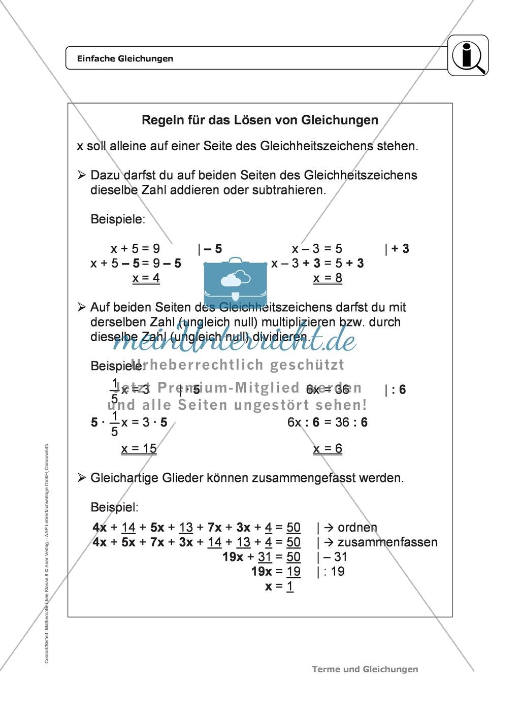 Einführung in lineare Gleichungen - meinUnterricht