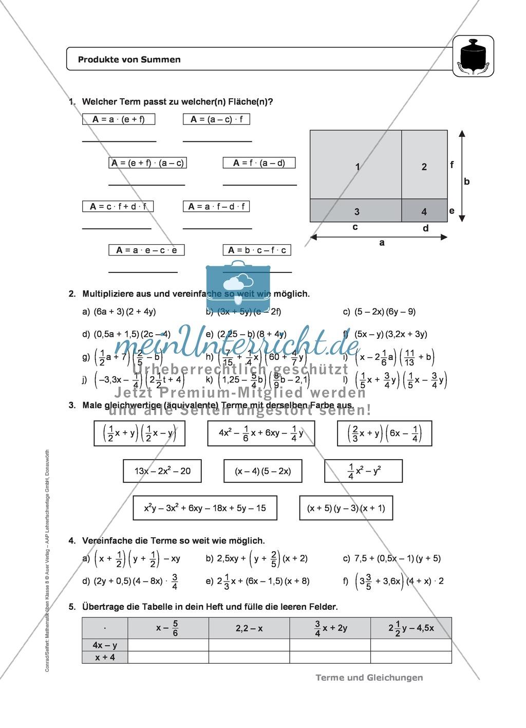 Multiplizieren von Summen und Differenzen - Das Distributivgesetz ...