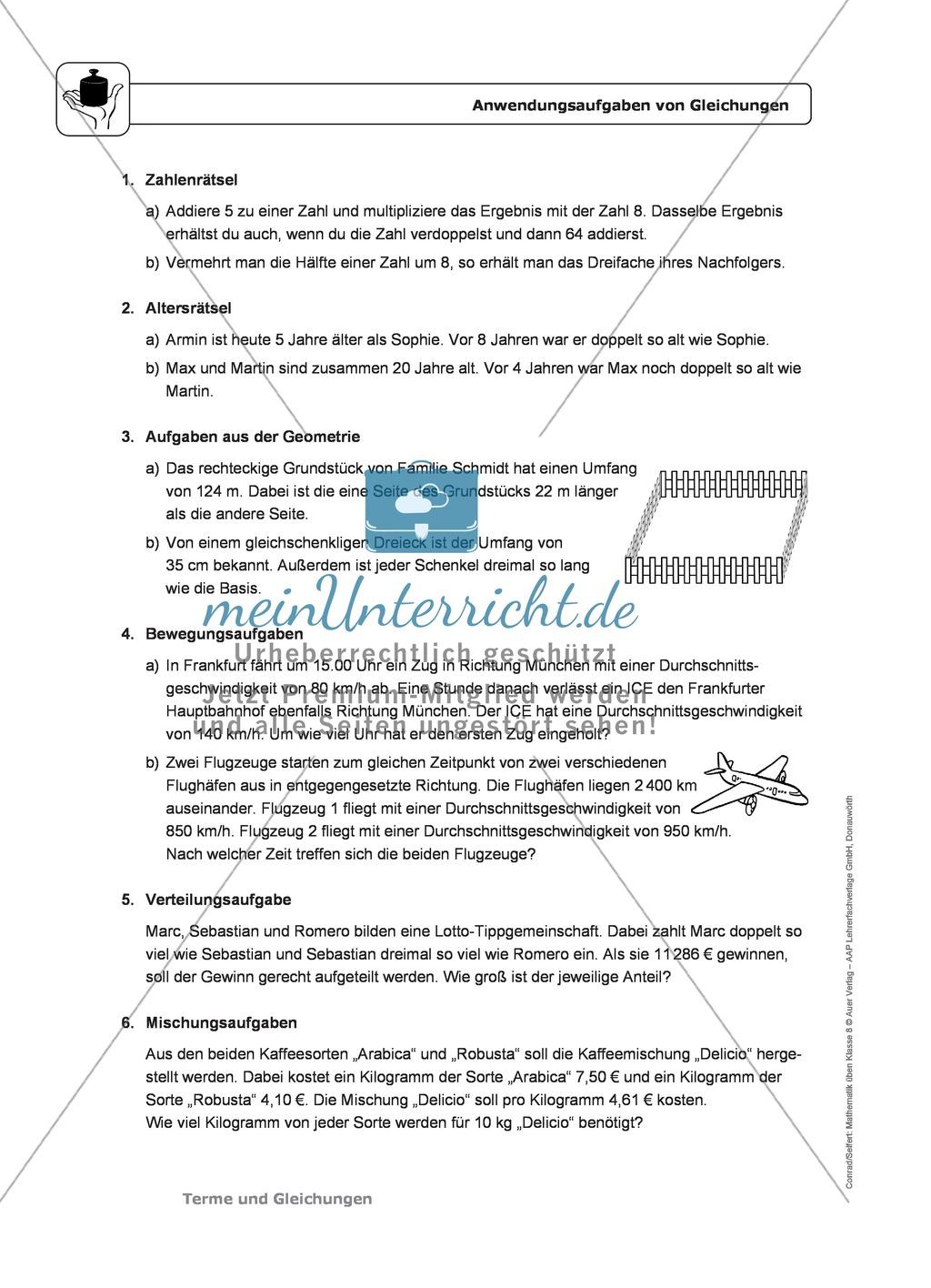 Anwendungsaufgaben und Textaufgaben von Gleichungen - meinUnterricht