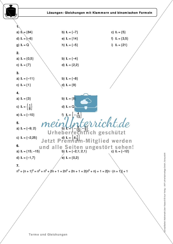 Gemischte Aufgaben zu linearen Gleichungen - meinUnterricht