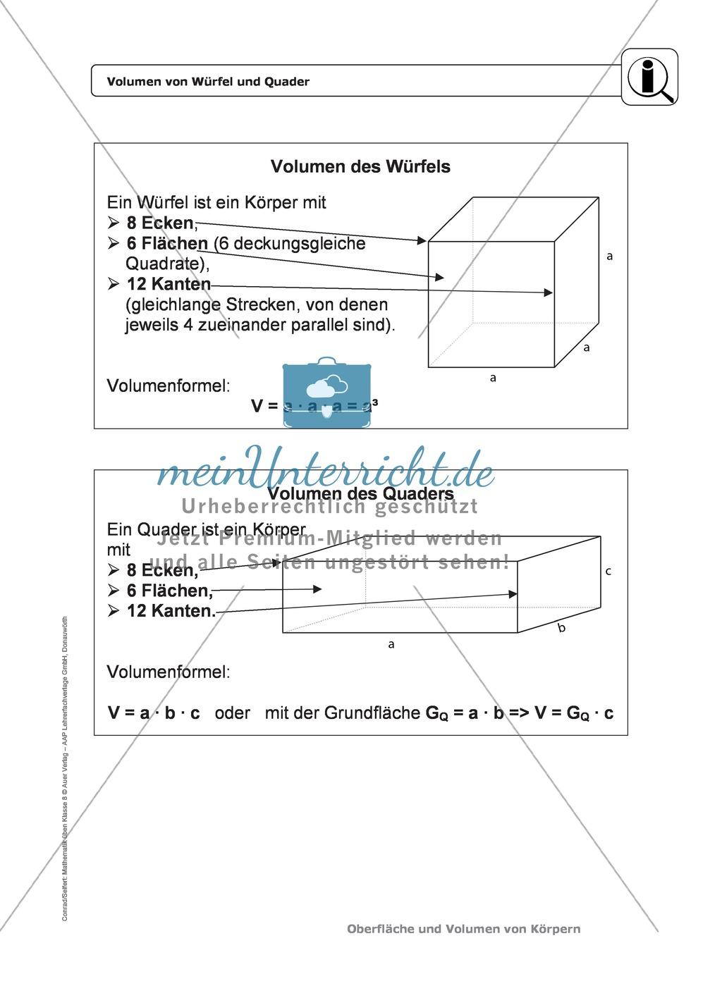Körper: Oberfläche und Volumen von Würfel und Quader - Infotexte + ...