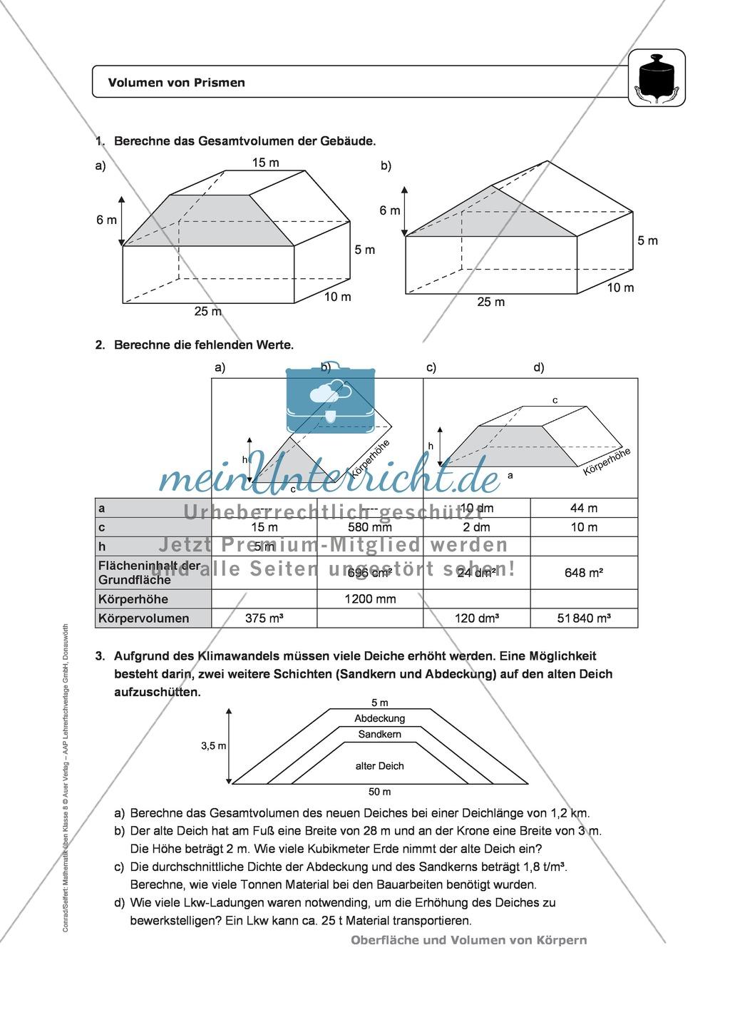 Perfect Volumen Eines Zylinders Arbeitsblatt Mit Antworten Ensign ...