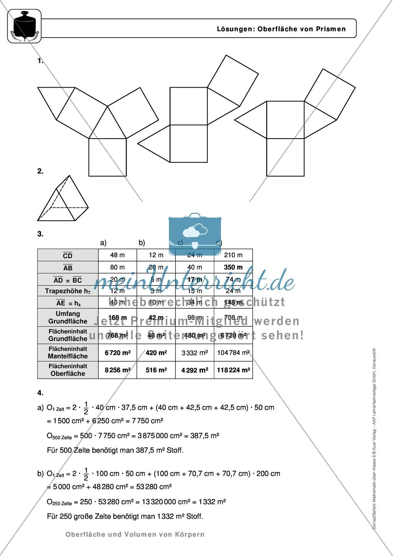 Körper: Oberfläche und Volumen von Prismen - Infotexte + ...