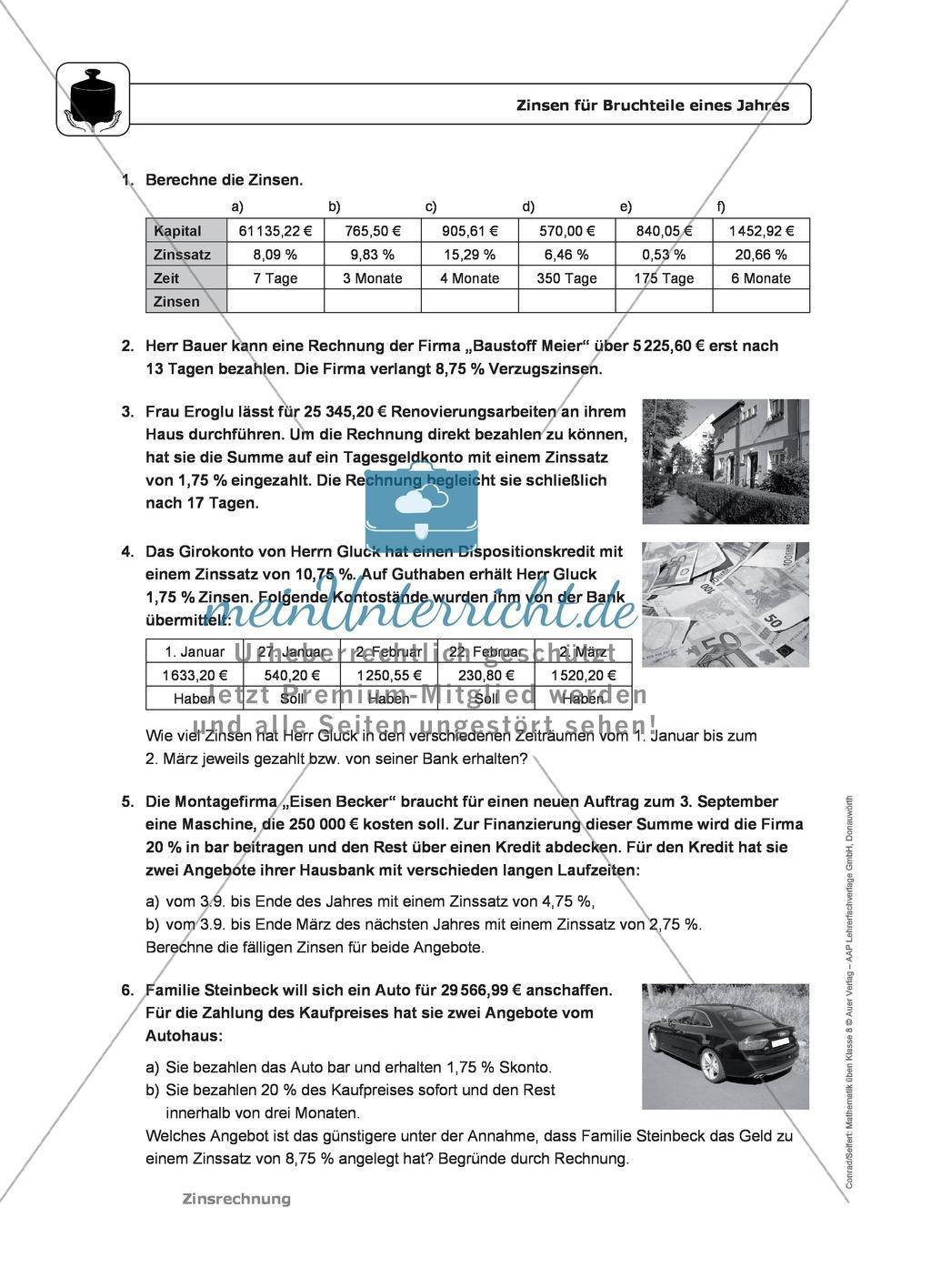 Zinsrechnung: Monatszinsen und Tageszinsen - Infotext + Beispiele + differenzierte Aufgaben + Lösungen Preview 2