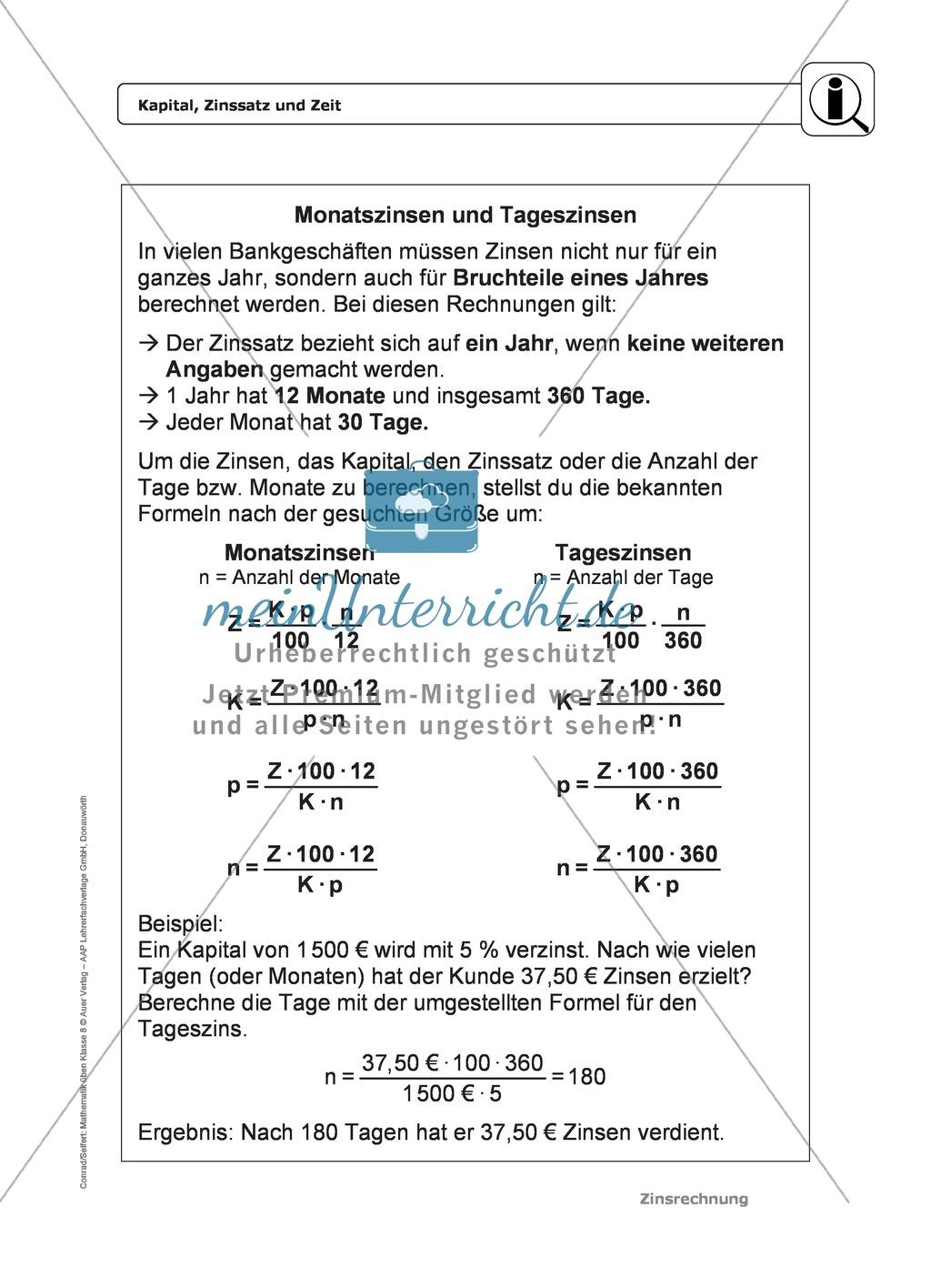 Zinsrechnung: Monatszinsen und Tageszinsen - Infotext + Beispiele + ...