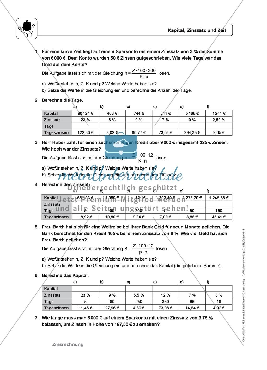 Zinsrechnung: Monatszinsen und Tageszinsen - Infotext + Beispiele + differenzierte Aufgaben + Lösungen Preview 4