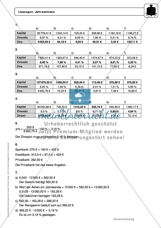 Zinsrechnung: Monatszinsen und Tageszinsen - Infotext + Beispiele + differenzierte Aufgaben + Lösungen Preview 6