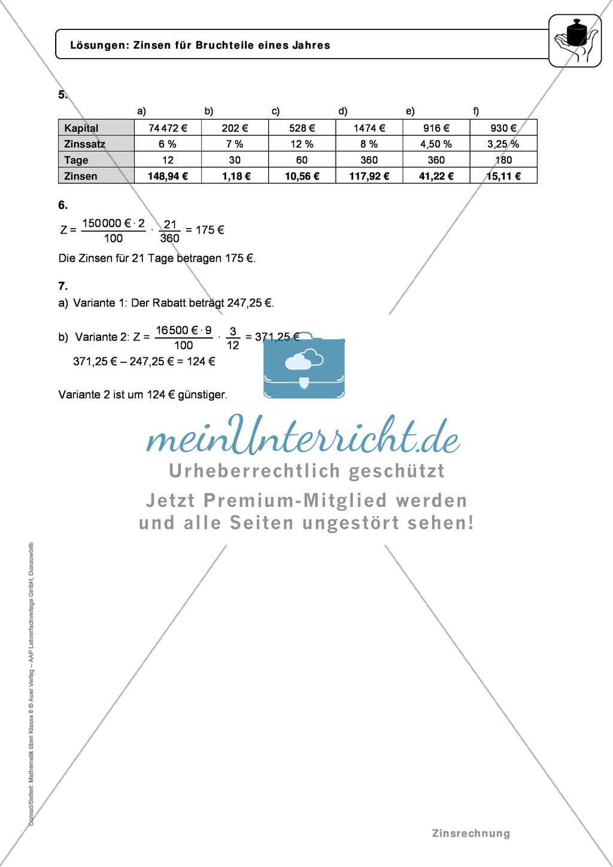 Zinsrechnung: Monatszinsen und Tageszinsen - Infotext + Beispiele + differenzierte Aufgaben + Lösungen Preview 8