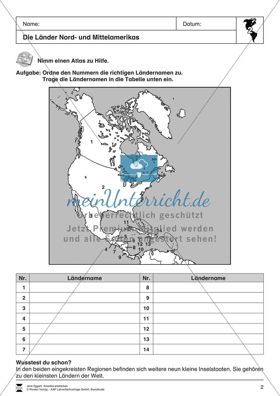 Der Kontinent Amerika: Die Länder + Sprachen + Flaggen Preview 0