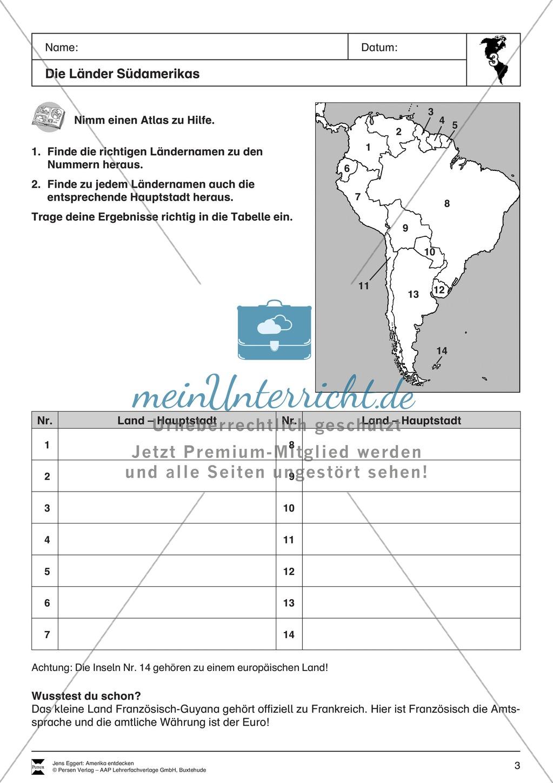 Der Kontinent Amerika: Die Länder + Sprachen + Flaggen Preview 1
