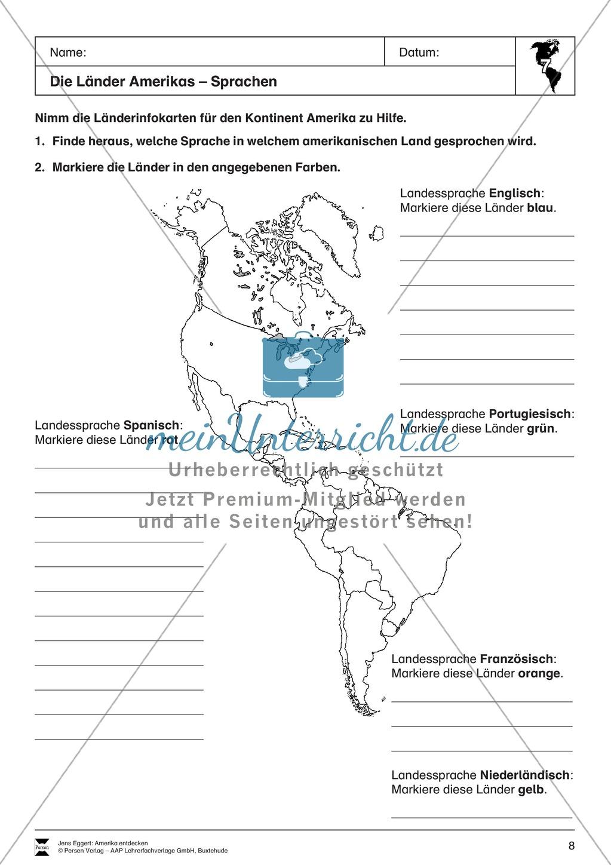 Der Kontinent Amerika: Die Länder + Sprachen + Flaggen Preview 2