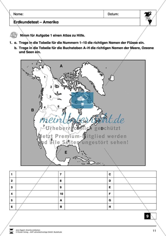 Der Kontinent Amerika: Detektivrätsel + Erdkundetest - Geographie ...