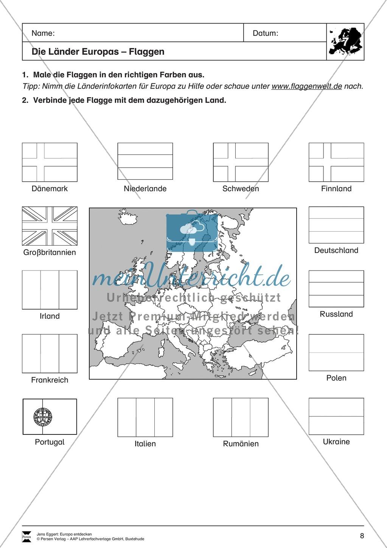 Der Kontinent Europa: Länder + Flaggen - meinUnterricht