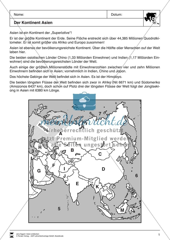 Der Kontinent Asien: Einführung + Grundlagen - meinUnterricht