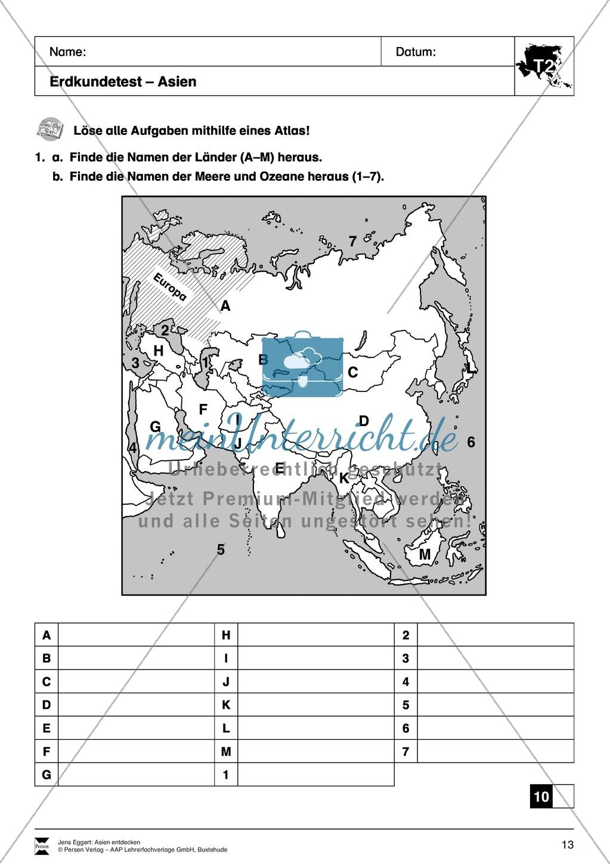 Der Kontinent Asien: Kreuzworträtsel + Erdkundetest - Geographie Asiens Preview 1