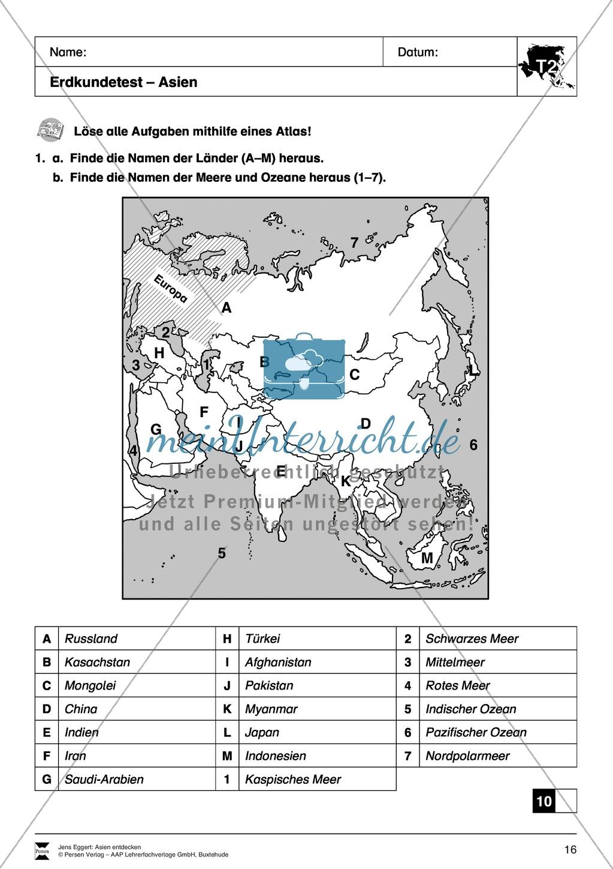 Der Kontinent Asien: Kreuzworträtsel + Erdkundetest - Geographie Asiens Preview 4