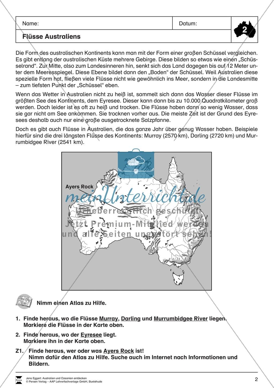 Der Kontinent Australien/Ozeanien: Die Flüsse Australiens Preview 1
