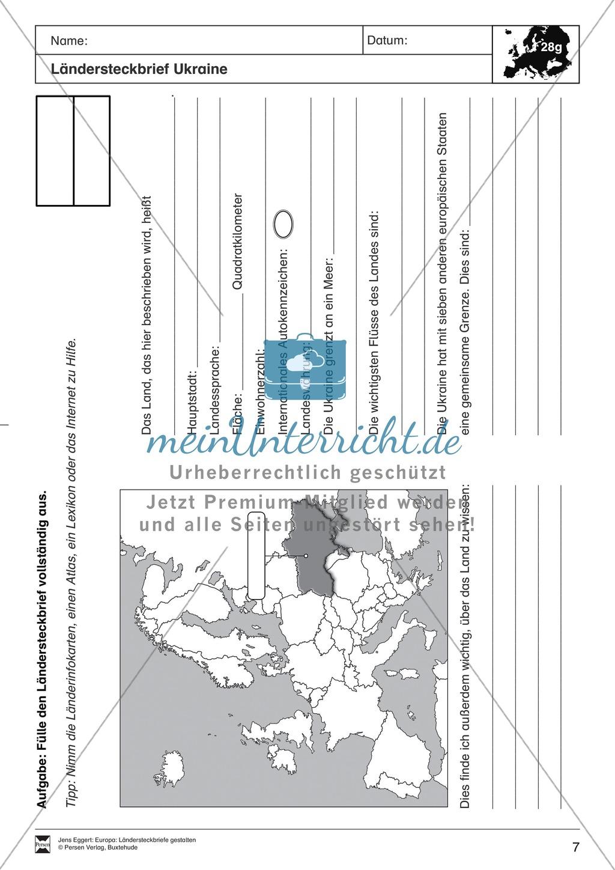 Europa: Ländersteckbriefe selbst gestalten Preview 6