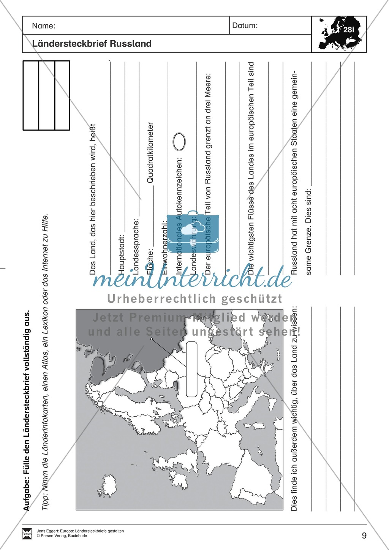 Europa: Ländersteckbriefe selbst gestalten Preview 8