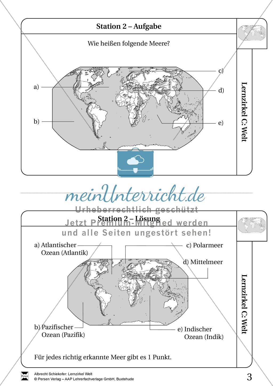 Lernzirkel Geographie der Welt - Arbeit an Stationen Preview 1