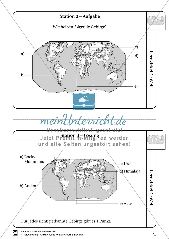 Lernzirkel Geographie der Welt - Arbeit an Stationen Preview 2