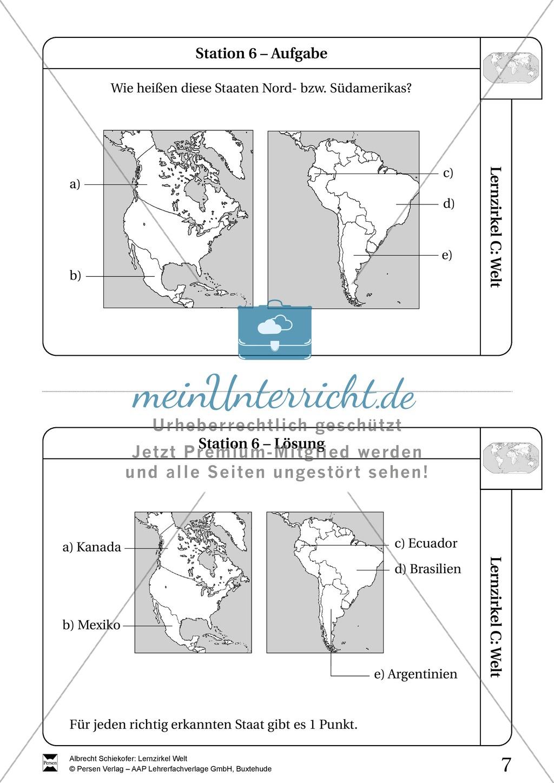 Lernzirkel Geographie der Welt - Arbeit an Stationen Preview 5
