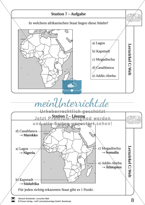 Lernzirkel Geographie der Welt - Arbeit an Stationen Preview 6