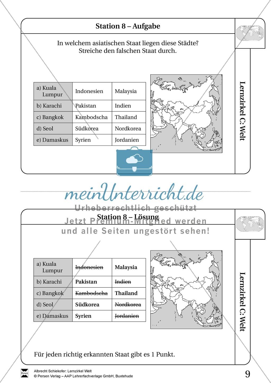 Lernzirkel Geographie der Welt - Arbeit an Stationen Preview 7