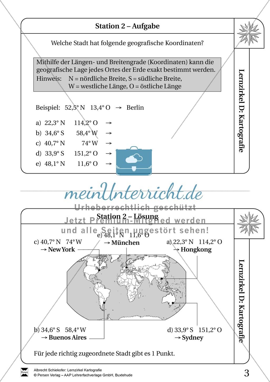 Lernzirkel Kartographie - Arbeit an Stationen Preview 1