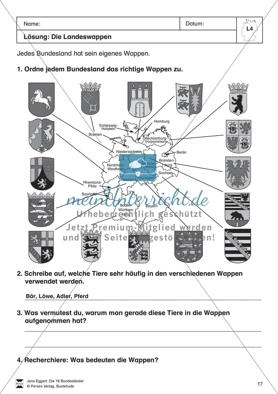 Die 16 Bundesländer: Basisdaten + Landeswappen + Nachbarländer Preview 6