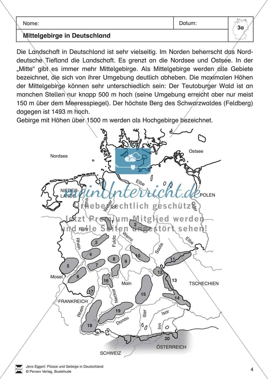 Arbeit mit Atlanten: Mittelgebirge in Deutschland Preview 1