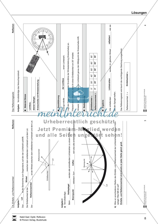 Optik - Reflexion: Lückentexte, Verständnis und Rechenaufgaben mit Lösungen Preview 8