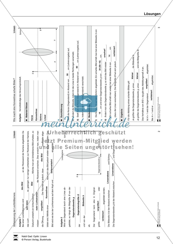 Optik - Bilderzeugung bei der Sammellinse: Vorlage Versuchsprotokoll + Aufgaben + Lösungen Preview 7